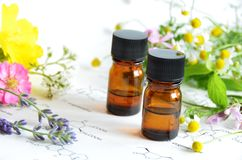Essential oil with herbal flower Stock Image