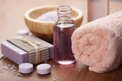 Essential oil and herbal soap. spa and body care Stock Image
