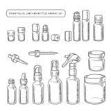 Essential Oil Jars And Bottles Hand Drawn Graphic Set. Vector Vintage Illustration.