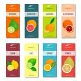 Essential oil labels collection. Bergamot, lemon, grapefruit, lime, mandarin, pomelo, orange, blood orange Stock Image