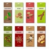 Essential oil labels collection. Nutmeg, cardamom, star anise, Cloves, cinnamon, ginger, vanilla, black pepper Stock Image