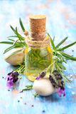 Essential oil and lavender. Royalty Free Stock Photo