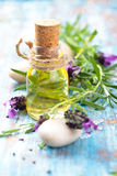 Essential oil and lavender. Royalty Free Stock Photography