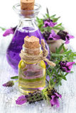 Essential oil and lavender. Aromatherapy spa background with a sprig of fragrant lavender with essential oil and plant extracts with copyspace royalty free stock photography