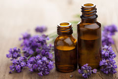 Essential oil and lavender flowers Royalty Free Stock Photography