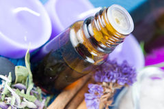 Essential oil and lavender flowers Stock Photos