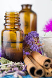 Essential oil and lavender flowers Royalty Free Stock Photos