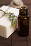 Essential oil and lavender flowers Stock Images