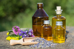 Essential oil with  lavender flowers Royalty Free Stock Images