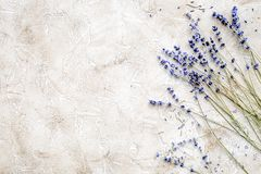 Essential oil and lavender salt with flowers top view royalty free stock photography