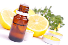 Essential oil and lemon Royalty Free Stock Photos