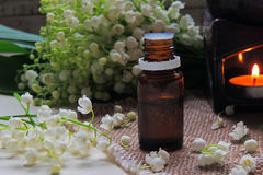 Essential oil and Lily of the valley Royalty Free Stock Images