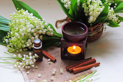 Essential oil and Lily of the valley Stock Image