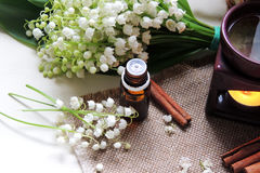 Essential oil and Lily of the valley Stock Photos