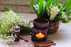 Essential oil and Lily of the valley Royalty Free Stock Photo