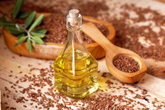 Essential oil linseed Royalty Free Stock Photos