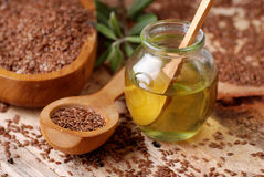 Essential oil linseed Royalty Free Stock Images