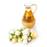 Essential oil with rose flower. Royalty Free Stock Photo
