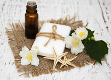 Essential oil and soap with jasmine flower Stock Photo