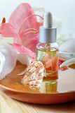 Essential oil for spa treatment in bottle with dropper Stock Photos