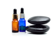 Essential oil with zen stone Stock Image