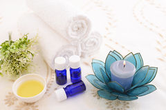 Essential oils. With Aromatherapy candle royalty free stock photos