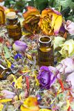 Essential oils, aromatherapy, dry flowers stock photo