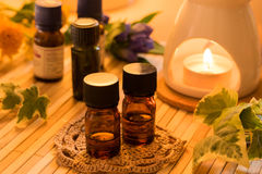 Essential oils for aromatherapy treatment stock images