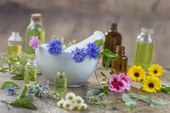 Essential oils for aromatherapy treatment with fresh herbs in mortar white background Stock Images