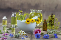 Essential oils for aromatherapy treatment with fresh herbs in mortar white background royalty free stock photo