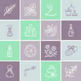 Essential oils aromatherapy vector line icons set. Elements - aroma therapy diffuser, oil burner, candles, incense. Sticks. Linear pictogram with editable royalty free illustration