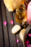 Essential oils and bath products Stock Images