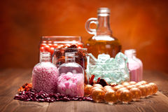 Essential oils and bath salt Stock Images