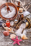 Essential oils and bath salt Stock Image