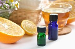 Essential oils at beauty salon Stock Image