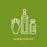 Essential oils bottle line icon. Vector logo for aromatherapy lotions store.  Stock Image