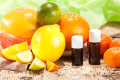 Essential oils from fruits royalty free stock photo