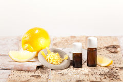 Essential oils from fruits. Lemon stock photo
