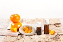 Essential oils from fruits. Mandarin stock photos