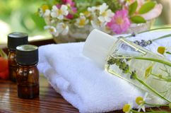 Essential oils and herbal cosmetics Stock Image