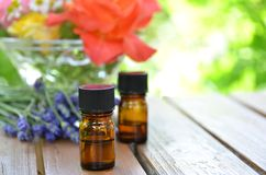 Essential oils in the herbal garden Royalty Free Stock Image