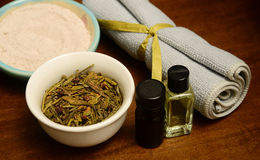 Essential oils and herbs for spa treatment Royalty Free Stock Photo
