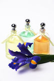Essential Oils and Iris Flower. On White Background royalty free stock image