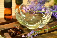 Essential oils with lavender Stock Photos