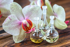Essential oils. Essential oil in glass bottle with fresh orchid flowers. Beauty treatment. Spa concept. Selective focus Royalty Free Stock Images