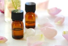 Essential oils with rose Stock Photo