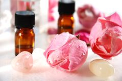 Essential oils with rose Royalty Free Stock Photo