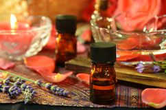 Essential oils and roses Royalty Free Stock Image