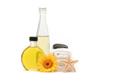 Essential oils and spa towels Royalty Free Stock Photo