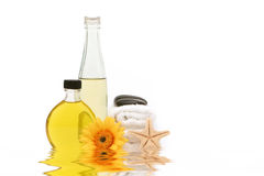 Essential oils and spa towels Stock Photo